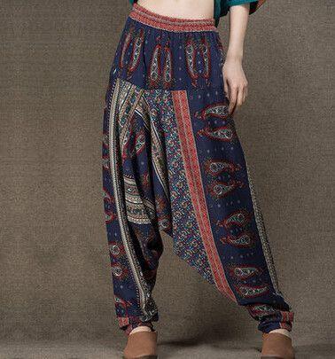 Unisex Bloomers Trousers Pants Baggy Harem Elastic Waist Linen Cotton Gypsy Boho