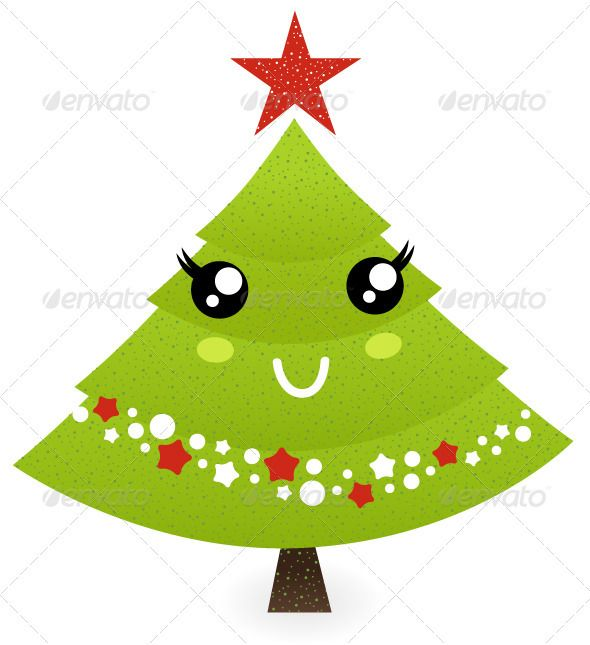 Cute Christmas Tree Character Isolated On White Cute Christmas Tree Christmas Tree Drawing Christmas Illustration