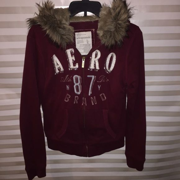 "Burgundy Maroon Fur Hood Bling Heavy Sweatshirt The ""it"" color of the season! Stay warm and rock some bling this winter season  Aeropostale Jackets & Coats"