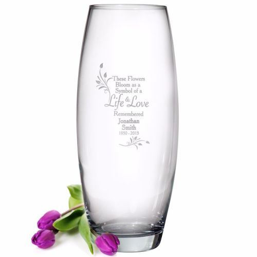 Personalised Life Love Glass Vase Grave Vase Cemetery