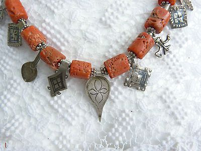 Moroccan Berber Necklace,  antique real coral and antique silver pendants
