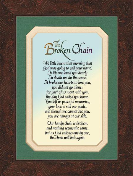Broken Chain Poem Photo Frame The Broken Chain Memorial Photo