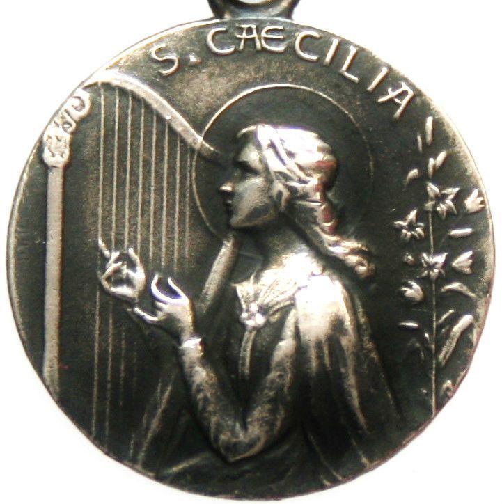 Musicians patron saint cecilia with the harp beautiful vintage musicians patron saint cecilia with the harp beautiful vintage medal pendant mozeypictures Choice Image