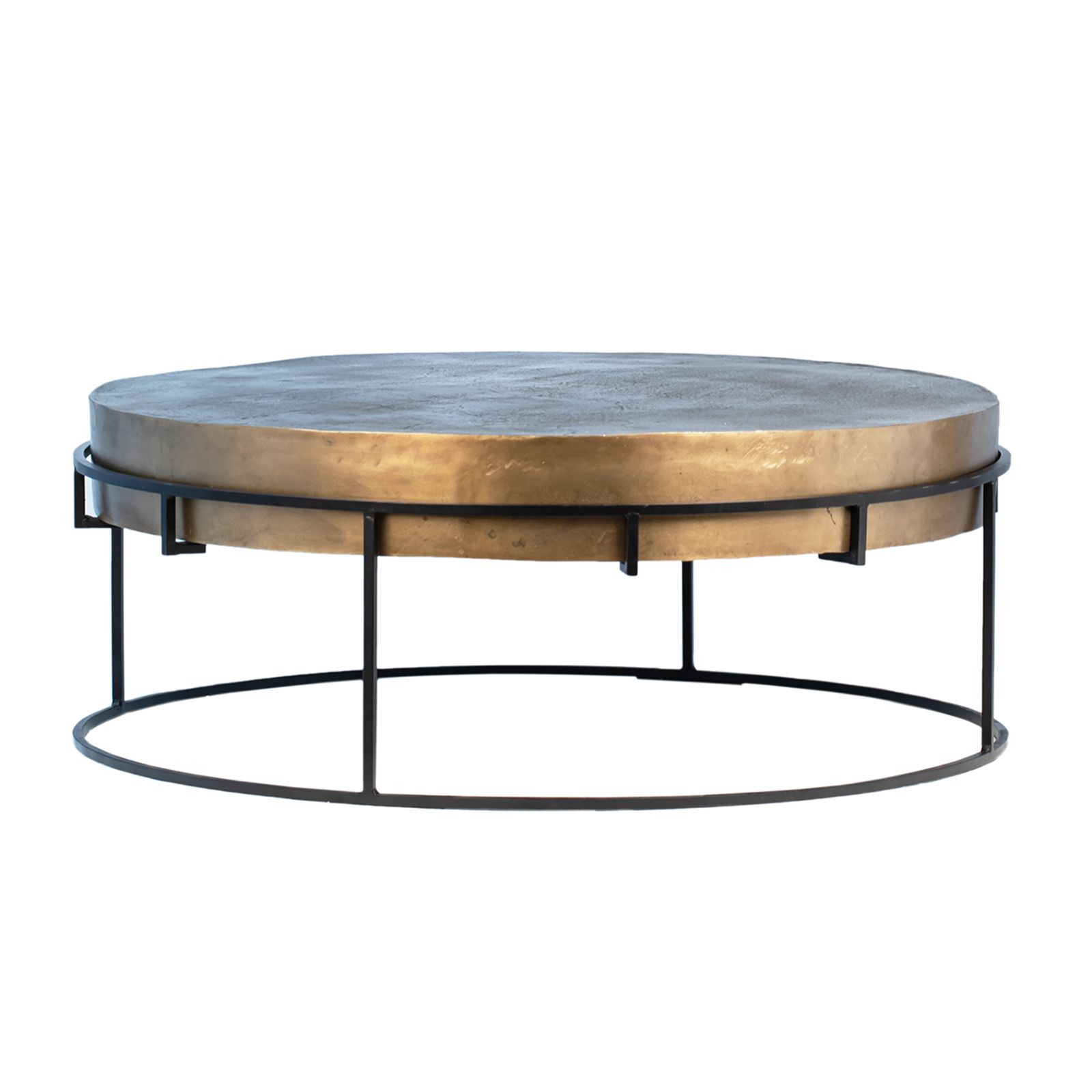 Round Antiqued Brass Finish Cast Aluminum Coffee Table With Black