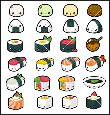 more Kawaii Sushi <3 <3 | Dibujos kawaii | Pinterest | Dibujos ...