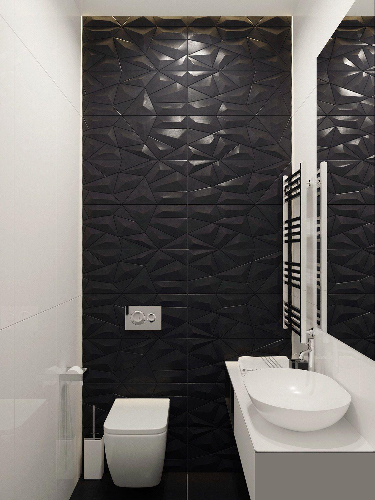 Interior Designer Bathroom Mesmerizing Home Designing — Via Hexagonal Black Feature Wall Bathroom Decorating Design