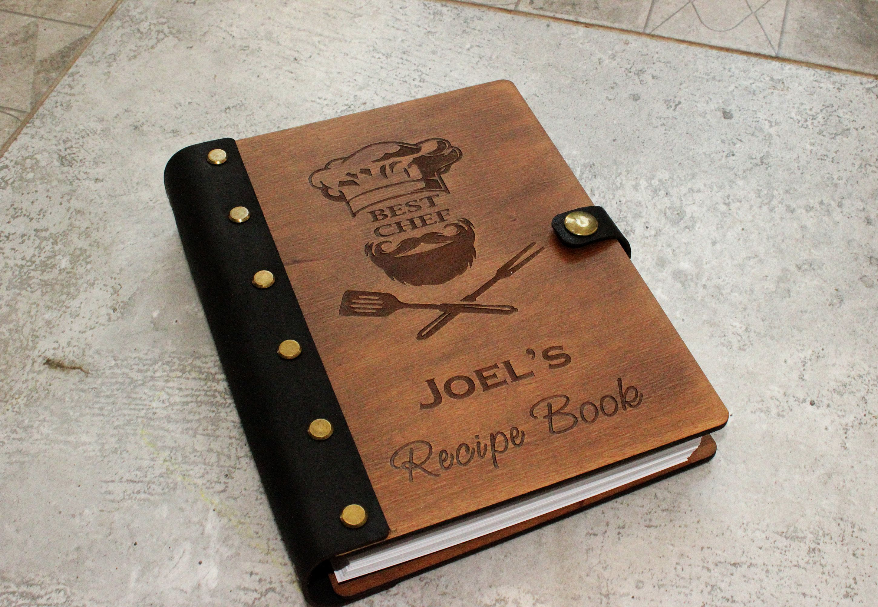 Custom blank recipe book for men wooden personalized