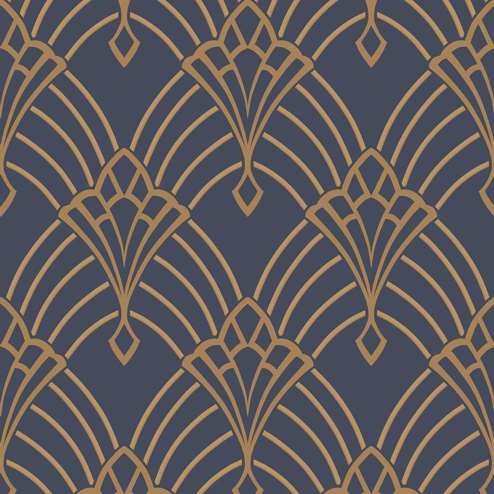 Retro Arch Fan Geometric Wallpaper Vinyl Black Blue Silver Gold Glitter Metallic
