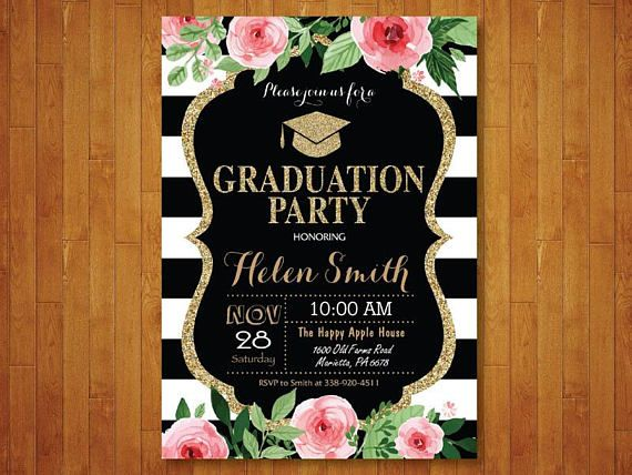 Graduation Party Invitation Floral Invite Gold Glitter Black And White Stripes