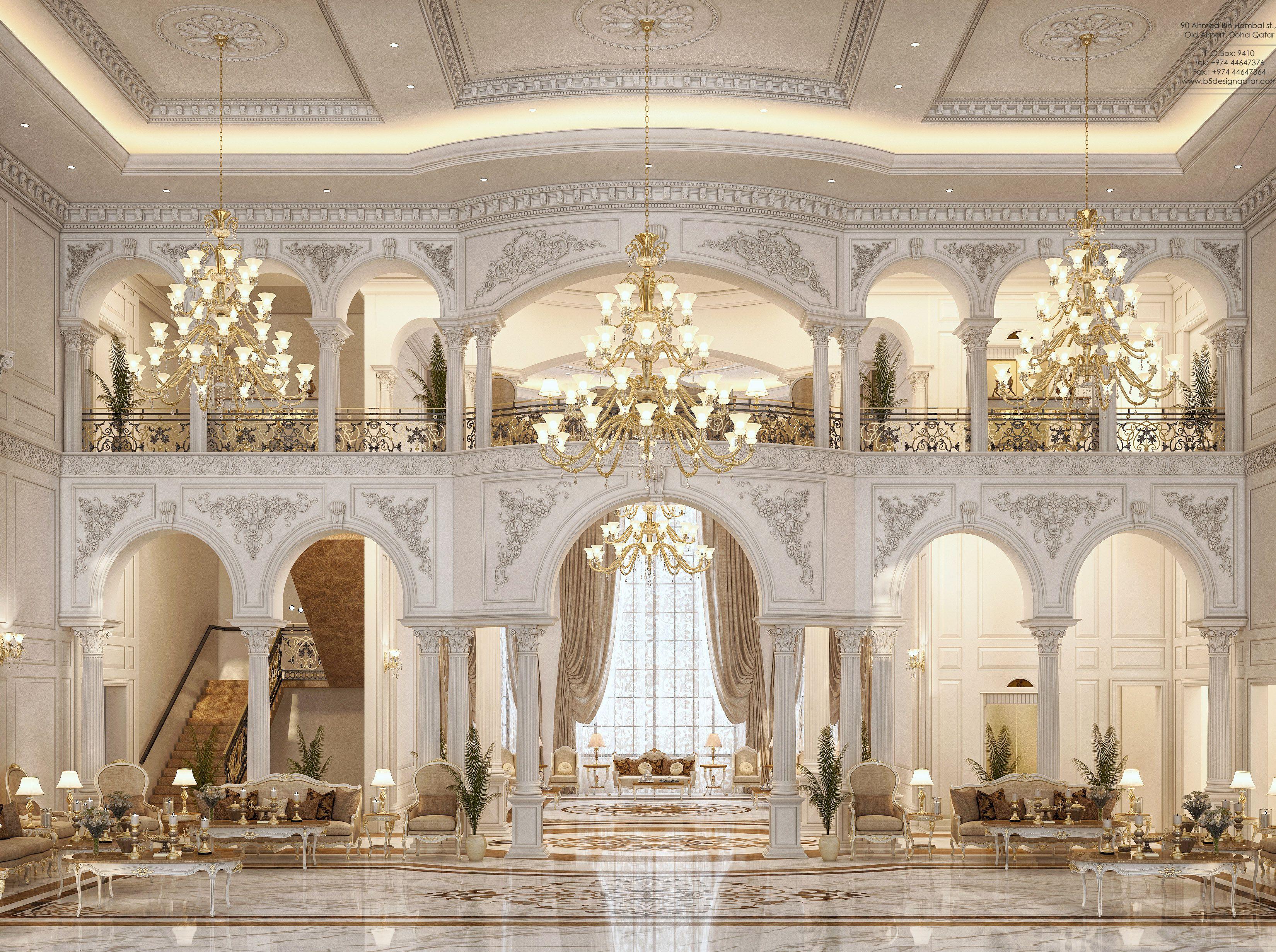 Best Main Hall Design For A Private Villa At Doha Qatar Luxury Mansions Interior Mansion Interior 400 x 300