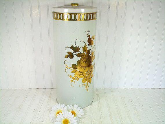 Shabby Chic Tall Round Metal Lingerie Hamper By