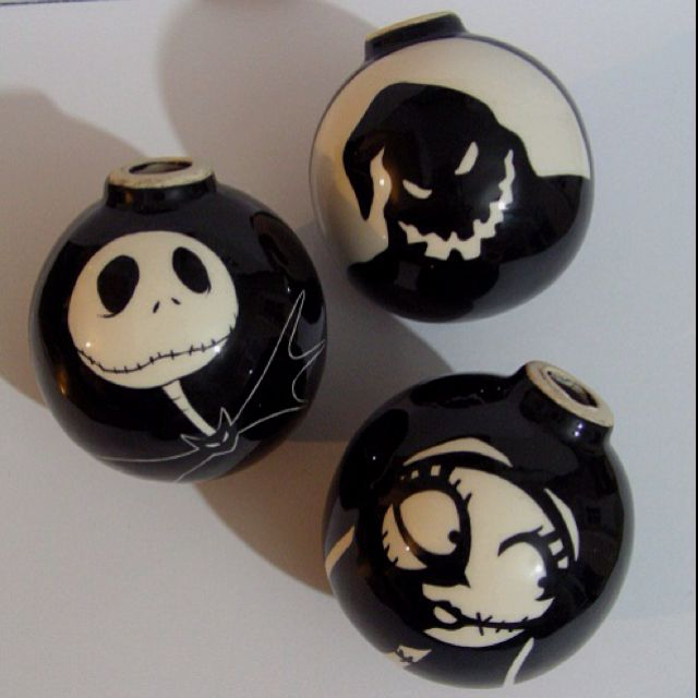 My homemade Nightmare Before Christmas; Xmas tree balls.