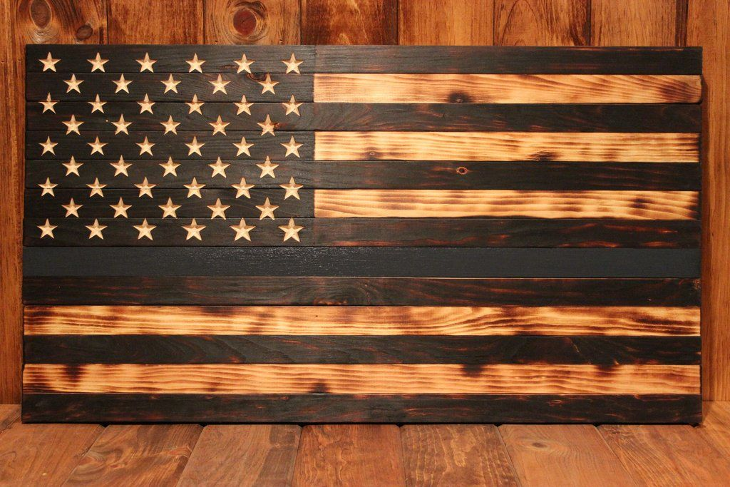 Charred American Flag With A Thin Blue Line Which Is For Our Officers The
