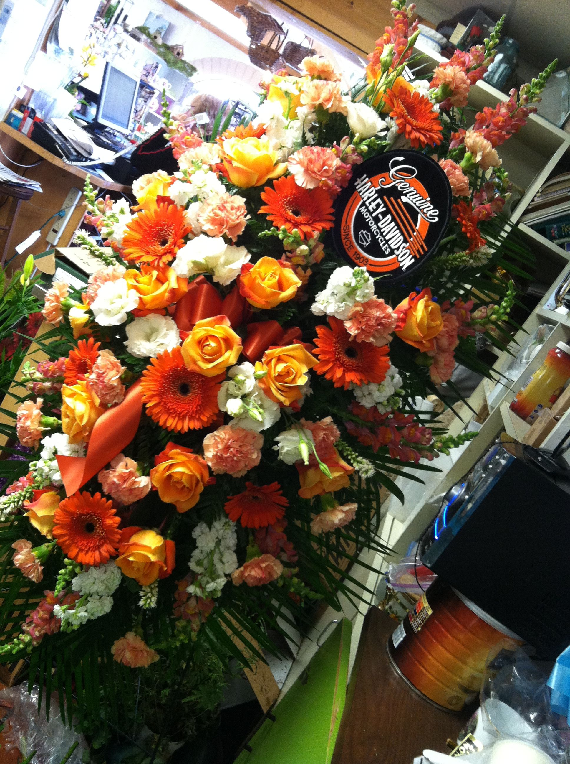 Awesome Harley Davidson Standing Spray We Designed For A Funeral