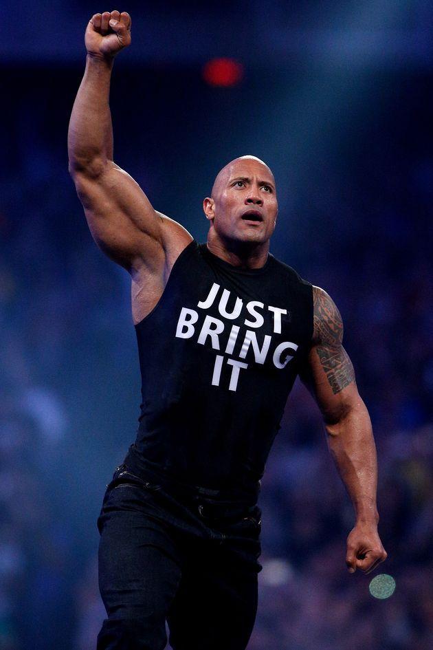 Dwayne Johnson aka The Rock is seen during Wrestlemania ...