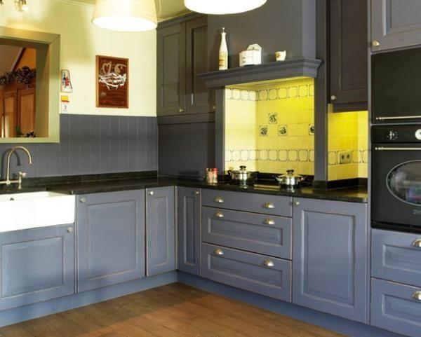 cuisine bleu fonc bois bleue fonc en bois cuisine pinterest cuisines bleu fonc bois. Black Bedroom Furniture Sets. Home Design Ideas