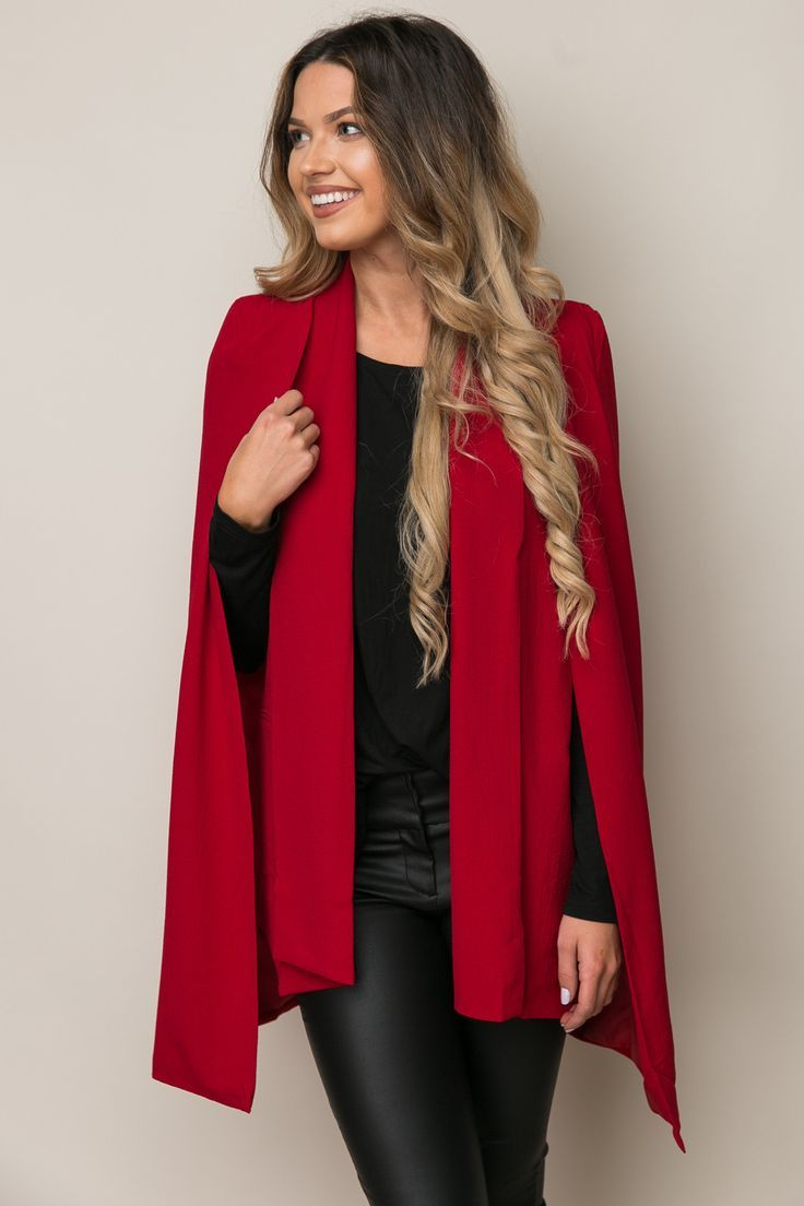 Cape Blazer from Dress Up  Red blazer cape  #corporatefashion