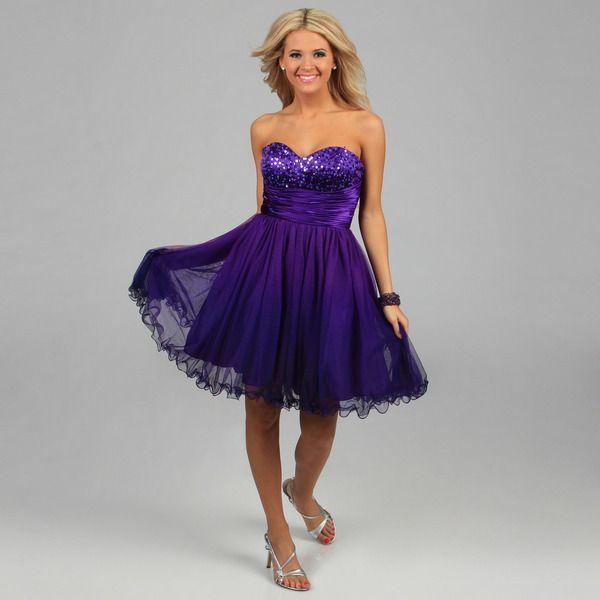 Jump Apparel Juniors Purple Strapless Sequined Party Dress by Jump ...