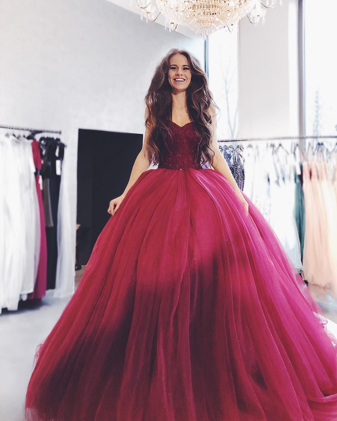 Ball gown sweetheart long wine tulle quinceanera dress with beading
