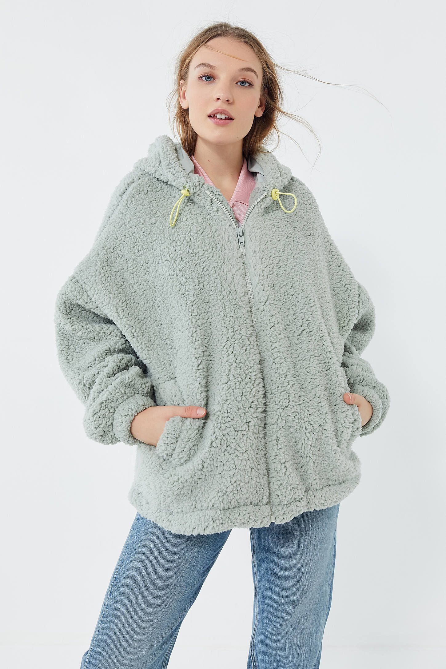 3350ea302e4a25 UO Wilma Hooded Zip-Front Teddy Jacket in 2019 | clothing 2 ...
