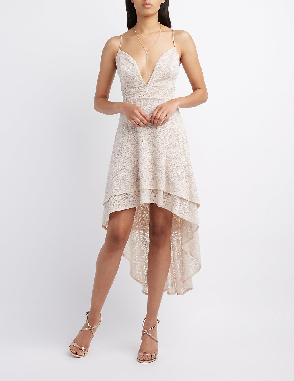 Lace High-Low Skater Dress | Charlotte Russe | For Renewing our Vows ...