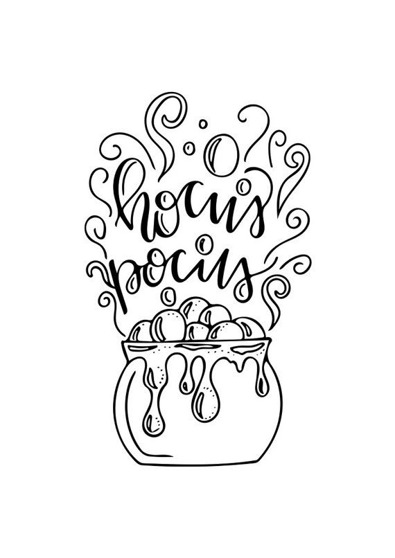 Hocus Pocus Digital Print By Wildforawhile On Etsy Cricut Halloween Coloring Pages Lettering