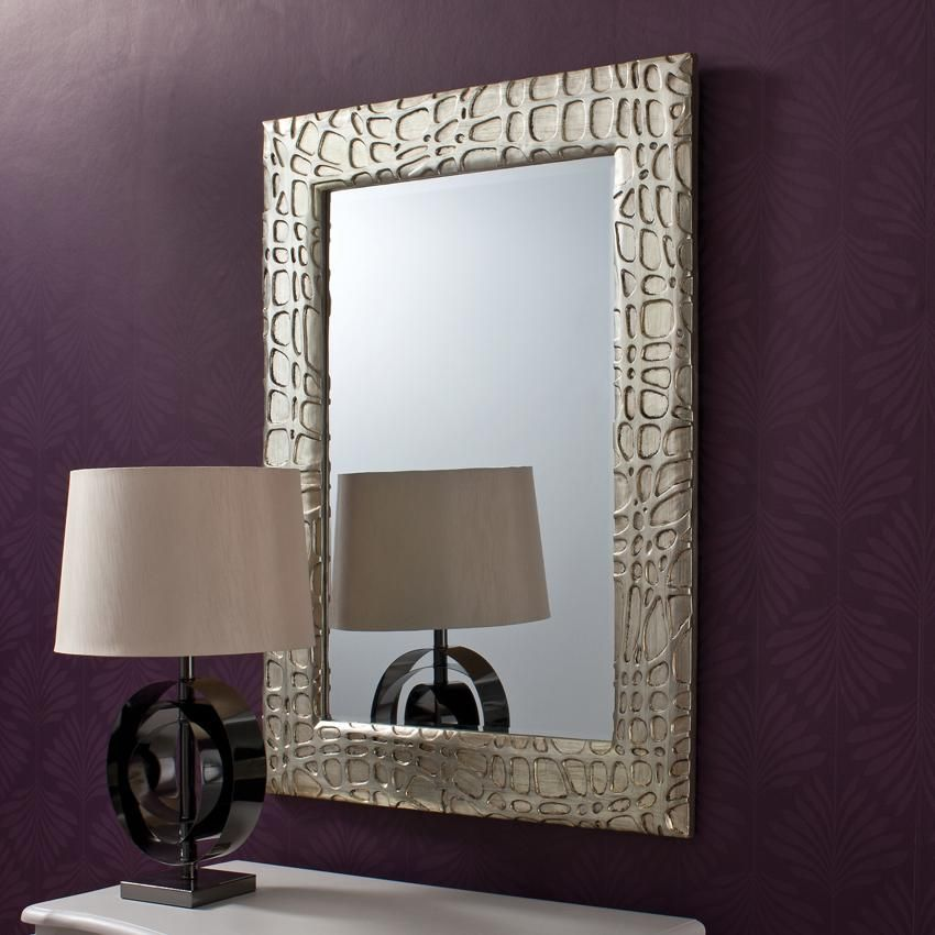 Images Of Framed Wall Mirrors | Silver Contemporary Framed Wall Mirror    £213.00   Bedroom