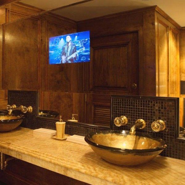 Contemporary bathroom ideas with glossy brown sink bowl for Master bathroom mirror designs