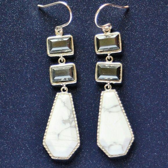 Two to Tango Earrings Magnesite. Hematite. Silver. Silpada Jewelry Earrings