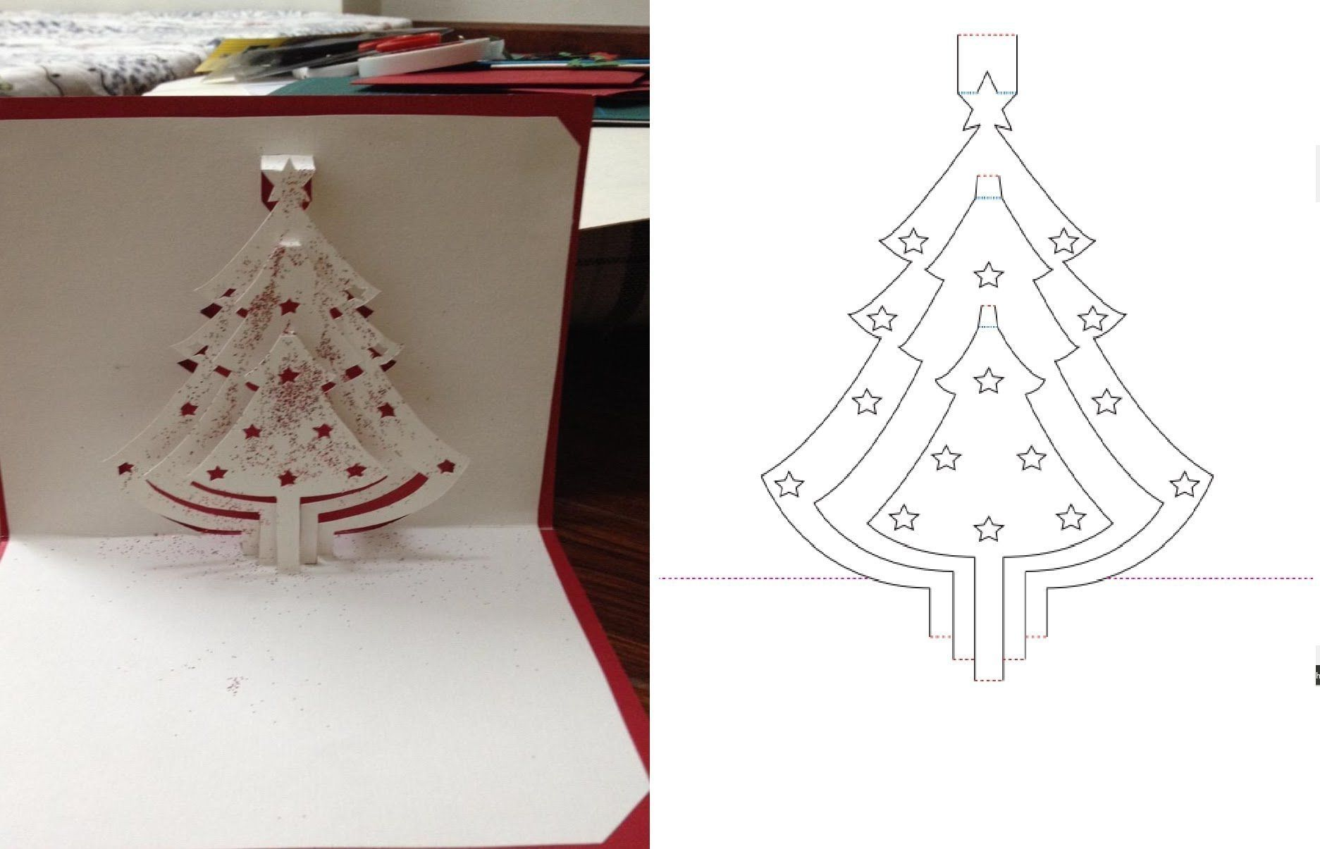 Kirigami Christmas Card Template | Consciousbeingwellness within ...