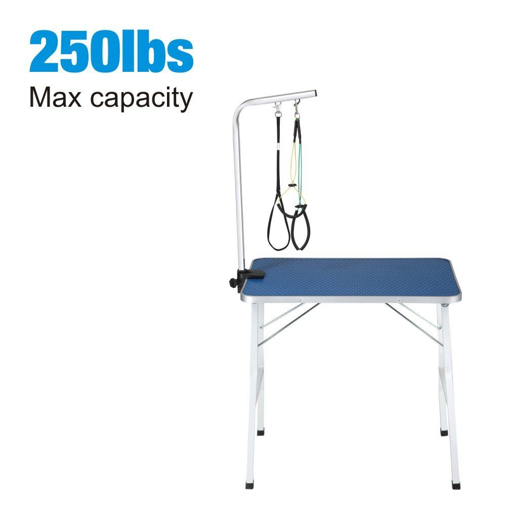 Qaqa Professional Pet Dog Grooming Table With Adjustable Overhead Arm 31a 35a 46a Heavy Duty Foldable Stainle Dog Grooming Dog Grooming Supplies Pet Dogs