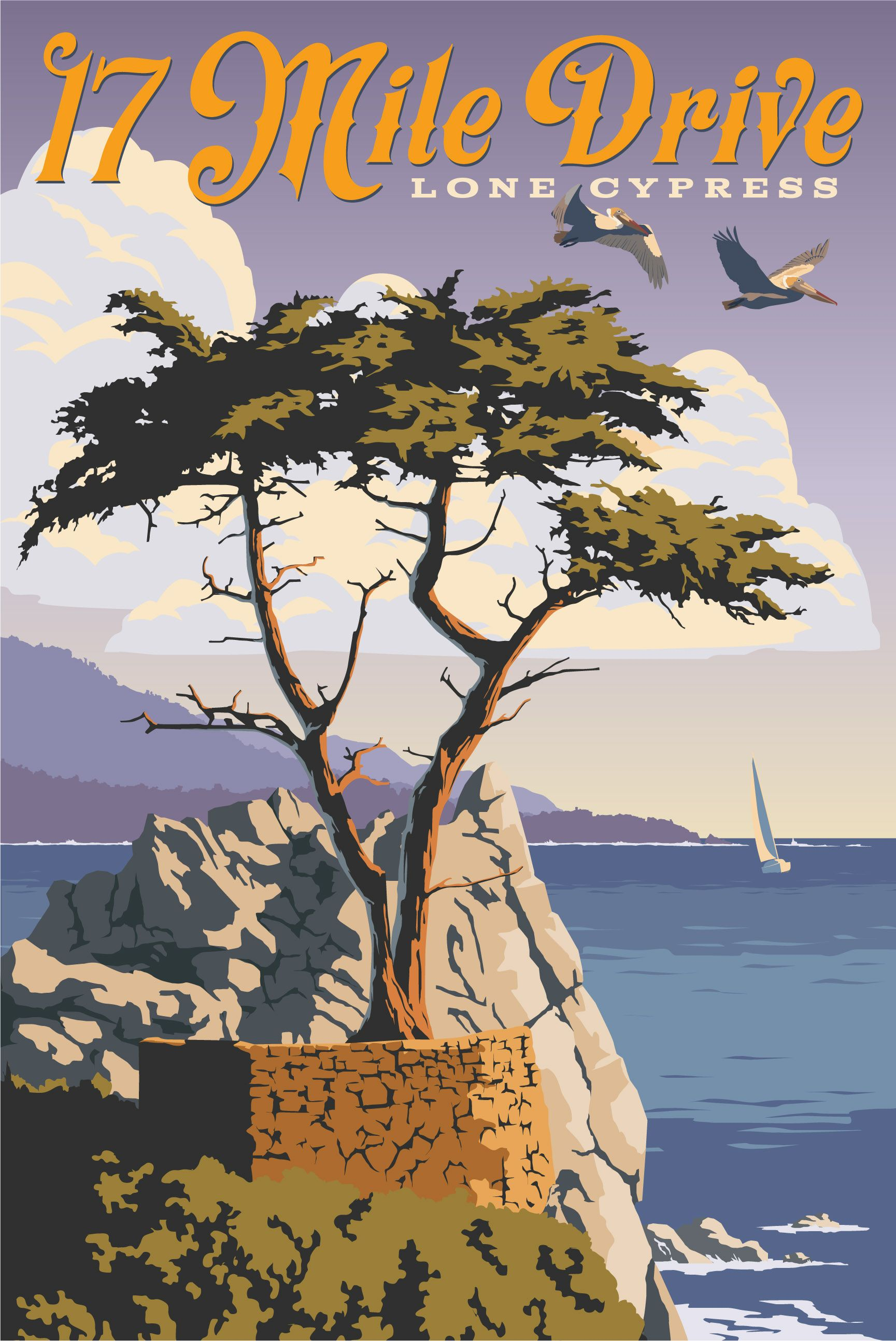 Just Looking Gallery Steve Thomas 17 Mile Drive Vintage Travel Posters Travel Posters California Poster
