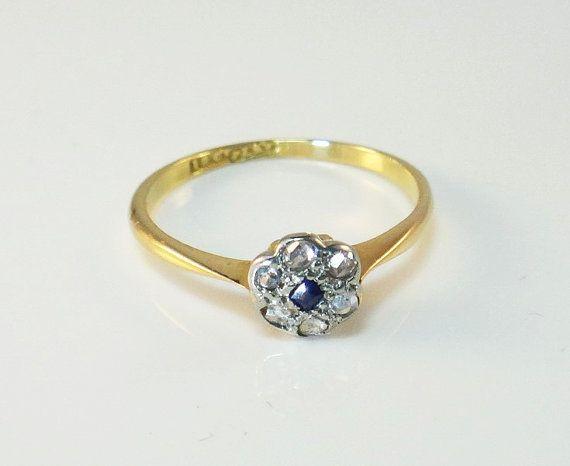 Edwardian Ladies Blue Sapphire and Diamond by GloryBeVintageWares, $299.50