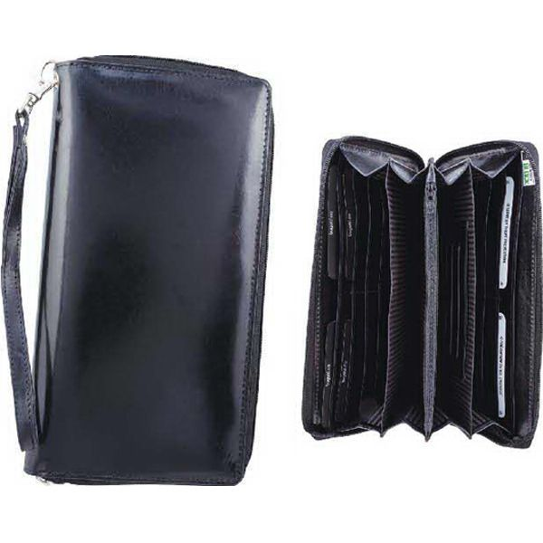 """Fine milled genuine Nappa leather accordion zip around deluxe travel organizer. Fully integrated Identity Block (TM) protection, ten credit card slots and functional dividers, zippered coin pocket, extended leather pull zip, detachable dog hook wrist strap, and outside back open pocket. 5"""" (L) x 1"""" (W) x 9"""" (H)."""