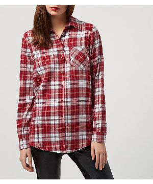 Red Check Boyfriend Shirt  | New Look