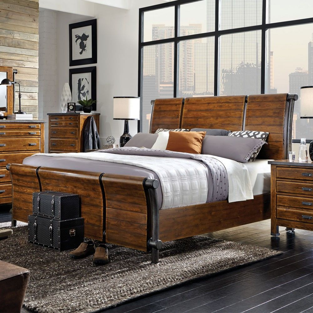 Aspenhome Rockland Wood Iron Sleigh Bed In Worn Tobacco By Humble Abode The Awe Inspiring Rockland Bedroom Set By Furniture Aspen Furniture Sleigh Bedroom Set