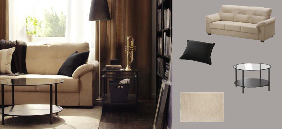 KNISLINGE Three-seat Sofa With Kungsvik Sand-coloured