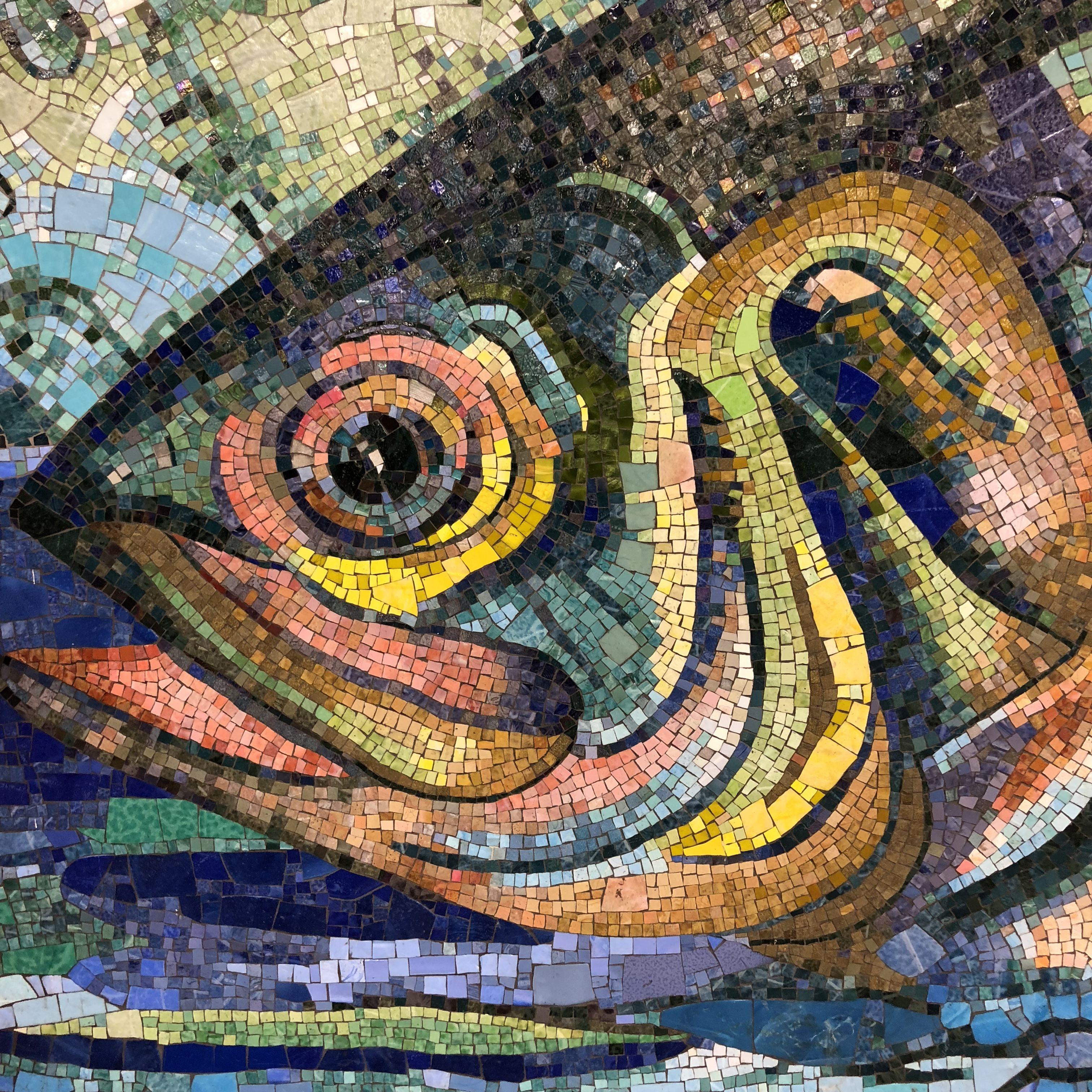 Close up of the fish mosaic at the Delancey Street MTA ...