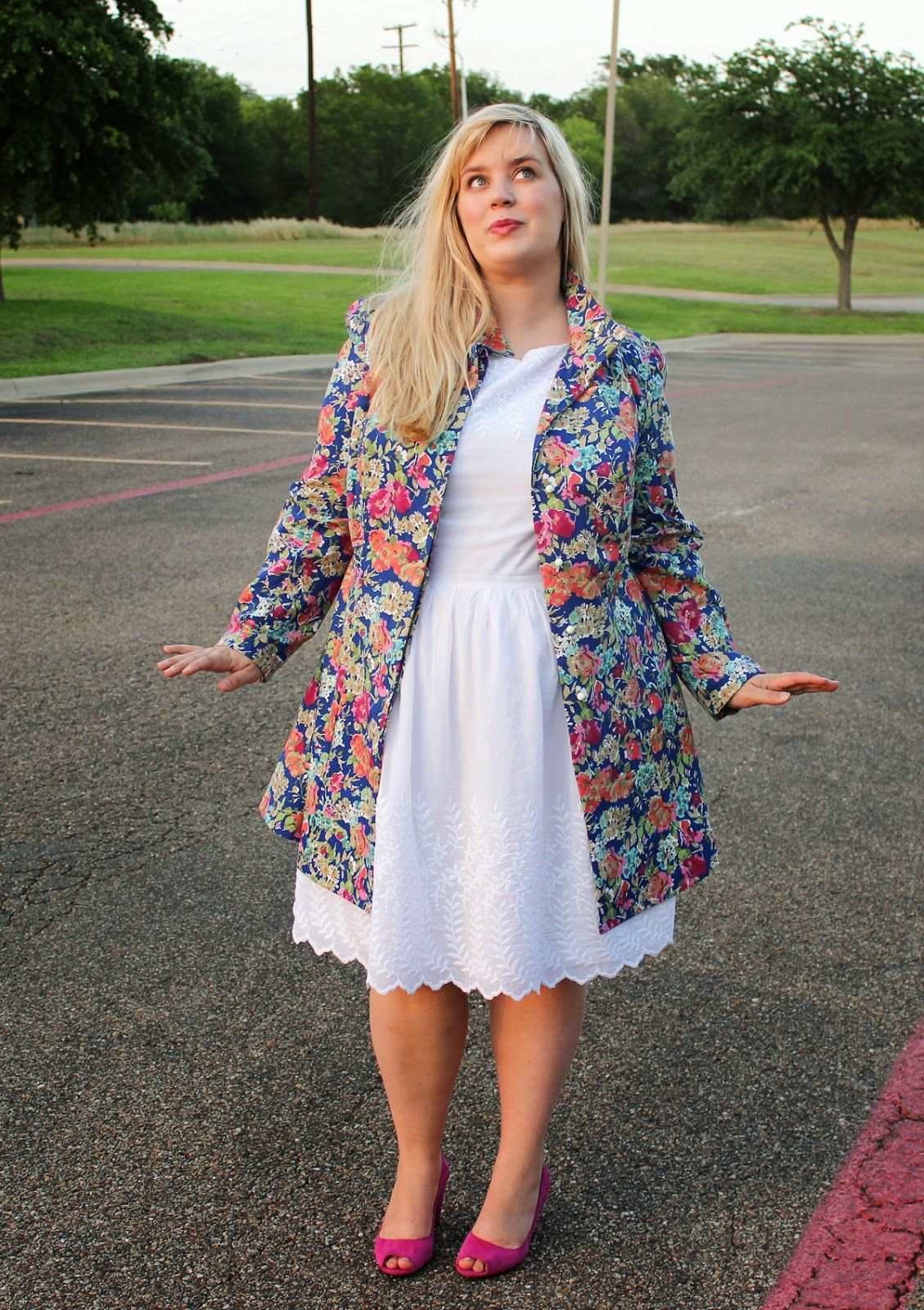 Idle Fancy Plus Sized Floral Trench Coat And Embroidered