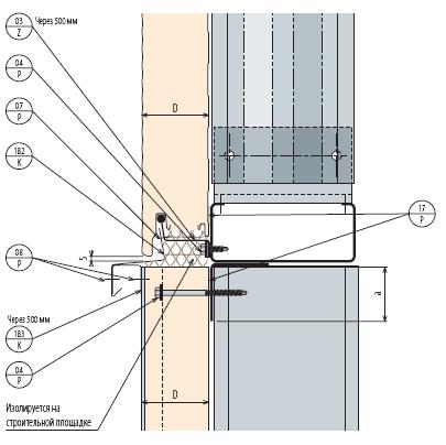 Сэндвич панели, Стеновые панели KS1000 AWP - Горизонтальный монтаж - Стык горизонтального элемента к вертикальному