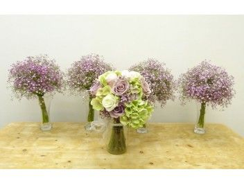 Bridal Posy In Spring Lilac Colours Hand Tied With Ribbon Pink Gypsophila Bridesmaid Posies