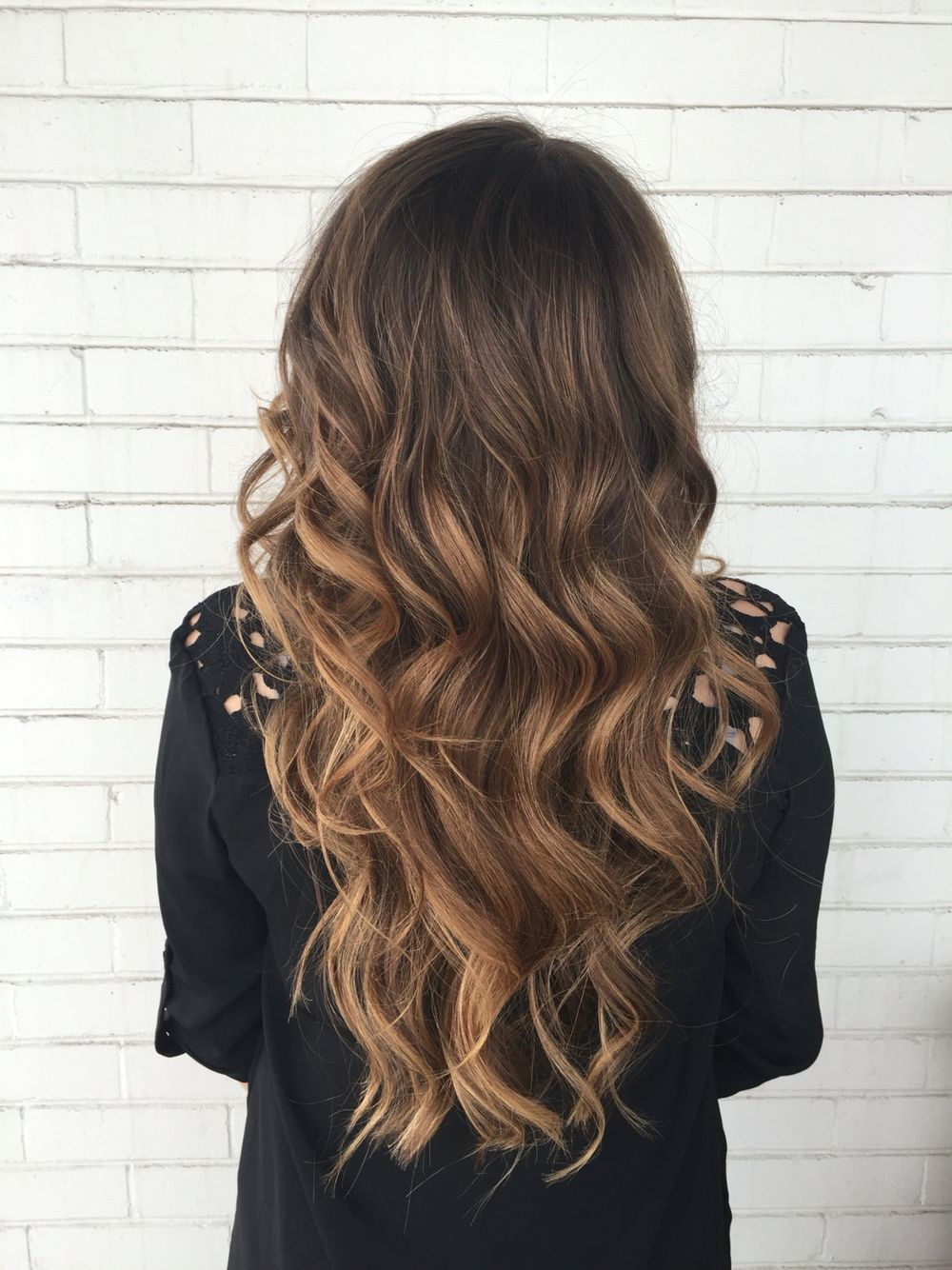Caramel Mocha. Balayaged her hair to add light and