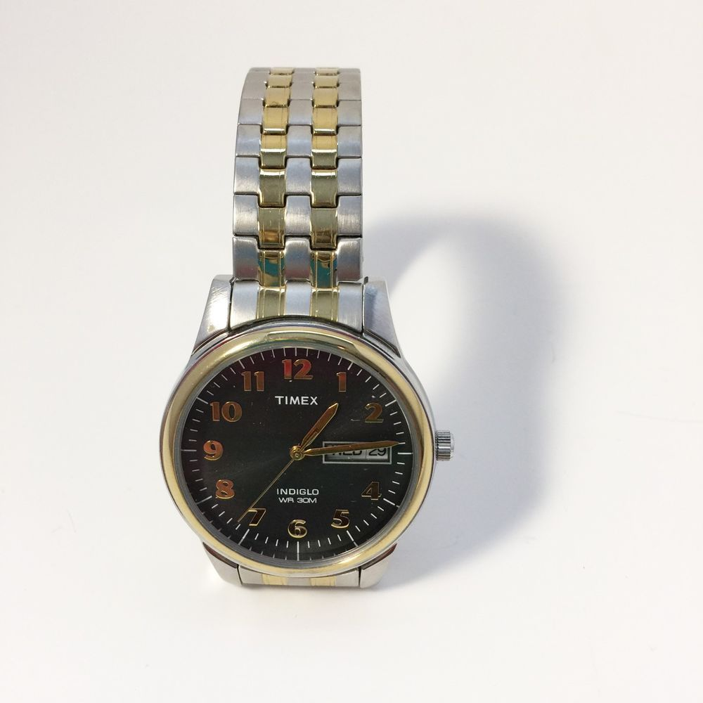 Timex Mens Indiglo Watch Brass/Stainless Steel Expansion