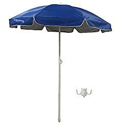 Shaderest 6 Portable Beach Umbrella Uv Protection With Sand Anchor And Carry Bag Blue Silver Coating