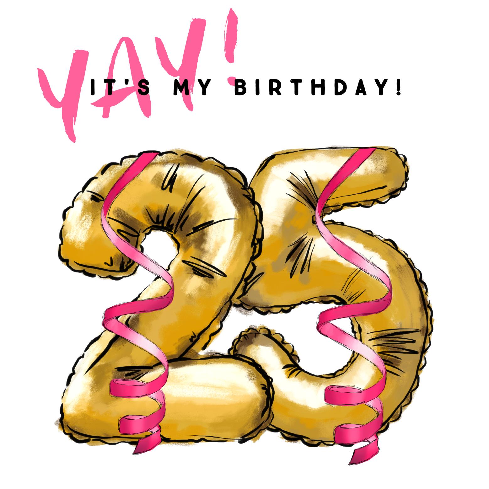 Verbazingwekkend Verjaardagskaart met gouden folie ballonnen voor 25 jaar. Hip CP-49