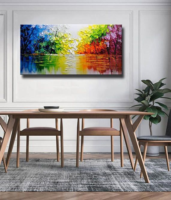 Contemporary Wall Art,Palette Knife Painting,colorful