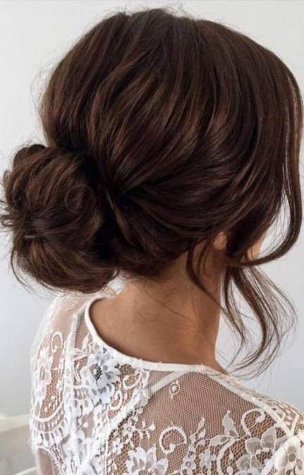 63 Ideas For Hair Styles With Bangs Prom Low Buns Low Bun Wedding Hair Wedding Hair Brunette Hair Styles