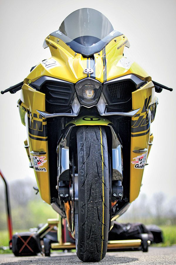 Front View Of Yellow Corn Kawasaki Ninja H2