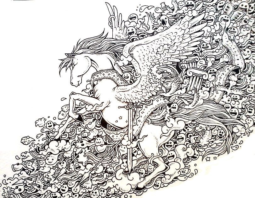 Pegasus Doodle Coloring Pages Colouring Adult Detailed Advanced Printable