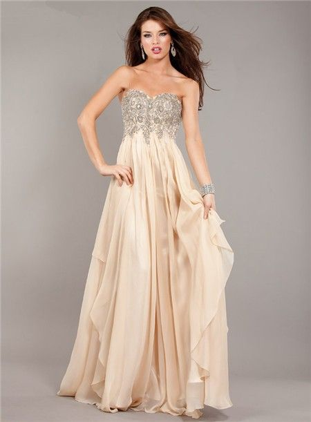 fe6f899d7564e Flowing Strapless Empire Waist Long Champagne Chiffon Beaded Prom Dress